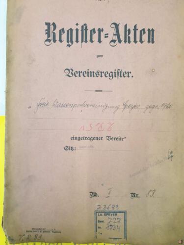 1920 Freie Wasserportvereiningung Vereinsregister