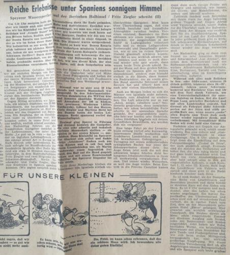 Tagespost Speyer 12 Sep 1957 Reiche Erlebnisse unter Spaniens sonnigem Himmel