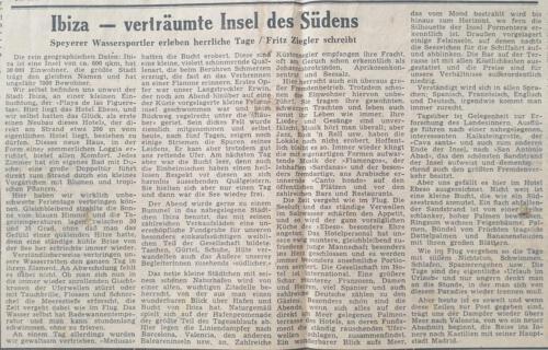 Tagespost Speyer 17 Sep 1957 Ibiza - verträumte Insel des Südens