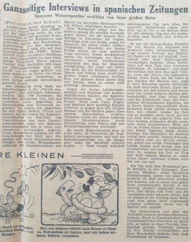 Tagespost Speyer 25 Sep 1957 Ganzseitige Interviews in spanischen Zeitungen
