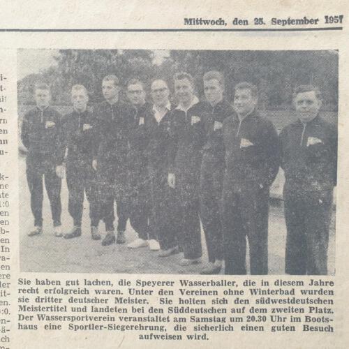 Tagespost Speyer 25 Sep 1957 Speyerer Wasserballer