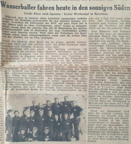 Tagespost Speyer 29 Aug1957 Wasserballer fahren heute in den sonnigen Süden